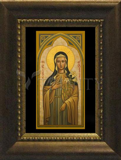Desk Frame Bronze - St. Clare of Assisi by J. Cole