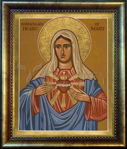 Desk Frame Bronze - Immaculate Heart of Mary by J. Cole