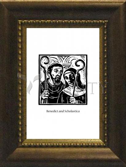 Desk Frame Bronze - Sts. Benedict and Scholastica by J. Lonneman