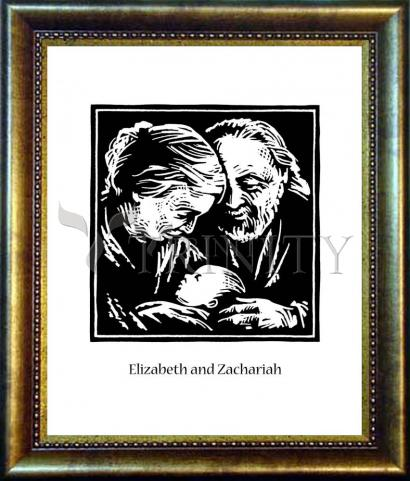 Desk Frame Bronze - St. Elizabeth and Zachariah by J. Lonneman