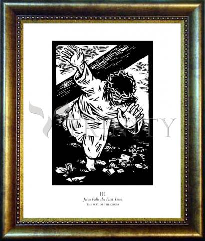 Desk Frame Bronze - Traditional Stations of the Cross 03 - Jesus Falls the First Time by J. Lonneman