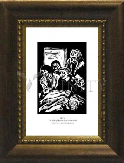Desk Frame Bronze - Scriptural Stations of the Cross 14 - The Body of Jesus is Laid in the Tomb by J. Lonneman