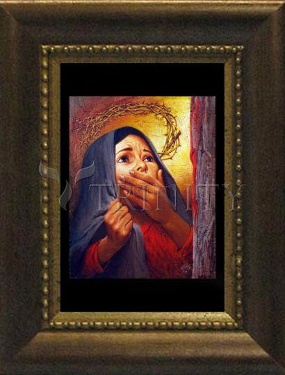 Desk Frame Bronze - Mary at the Cross by L. Glanzman
