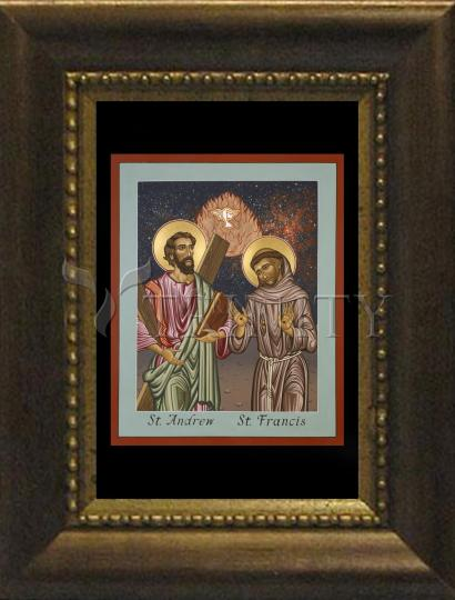 Desk Frame Bronze - Sts. Andrew and Francis of Assisi by L. Williams