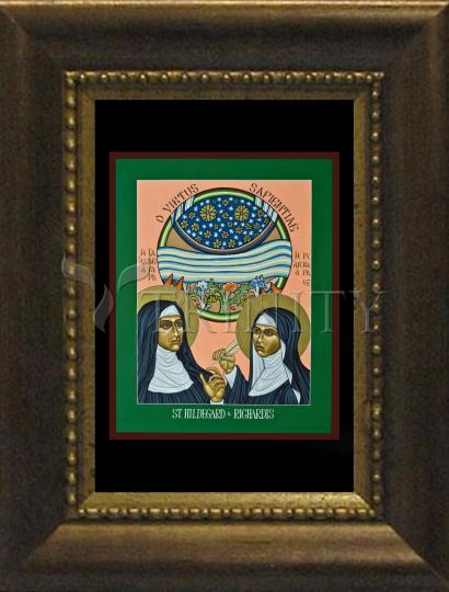 Desk Frame Bronze - St. Hildegard of Bingen and her Assistant Richardis by L. Williams