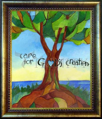 Desk Frame Bronze - Care For God's Creation by M. McGrath