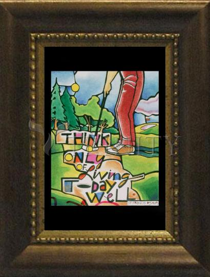 Desk Frame Bronze - Golfer: Think Only of Living Today Well by M. McGrath