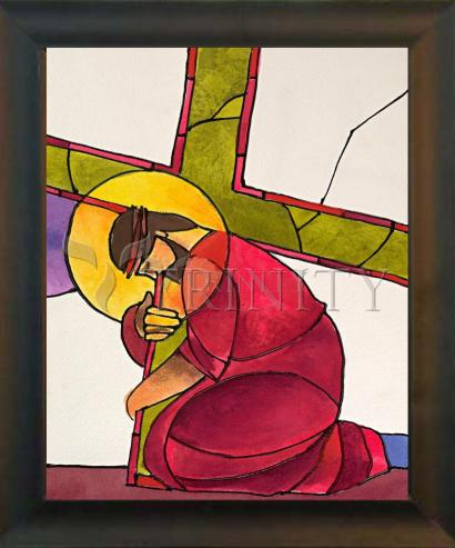 Desk Frame Black - Stations of the Cross - 03 Jesus Falls the First Time by M. McGrath