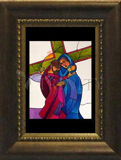 Desk Frame Bronze - Stations of the Cross - 04 Jesus Meets His Sorrowful Mother by M. McGrath