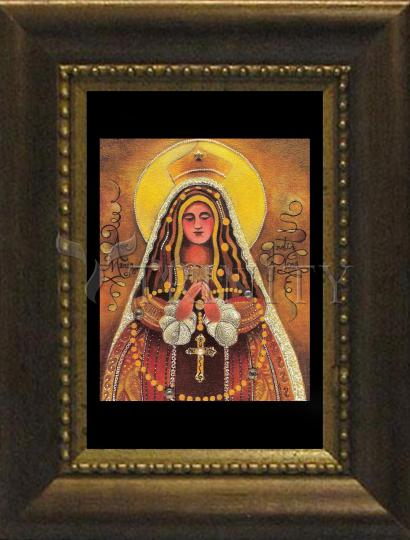 Desk Frame Bronze - Mary, Queen of the Rosary by M. McGrath
