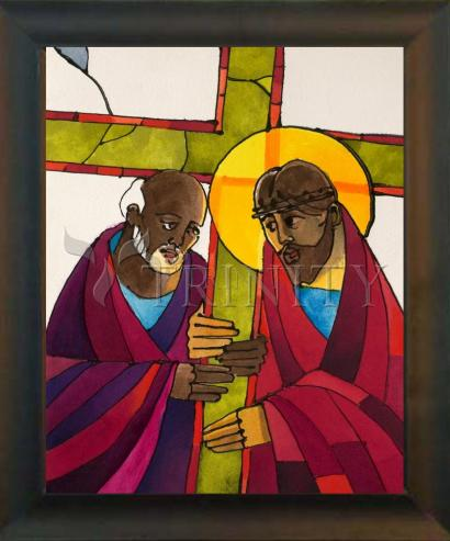 Desk Frame Black - Stations of the Cross - 05 Simon Helps Jesus Carry the Cross by M. McGrath