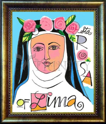 Desk Frame Bronze - St. Rose of Lima by M. McGrath