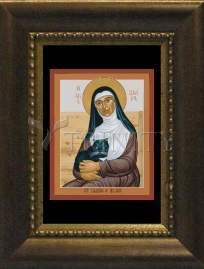 Desk Frame Bronze - St. Clare of Assisi by R. Lentz