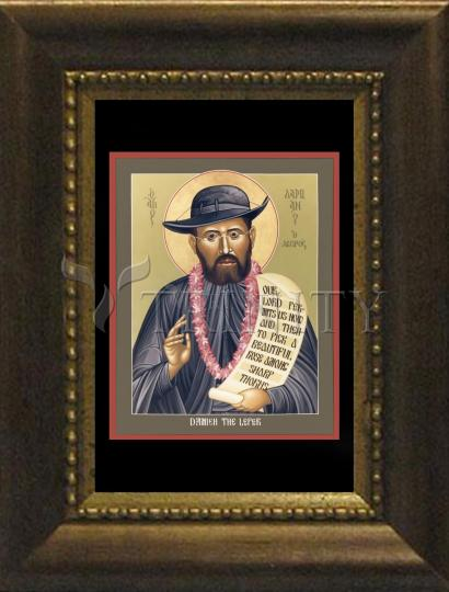 Desk Frame Bronze - St. Damien the Leper by R. Lentz