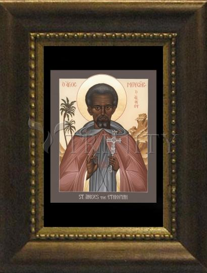 Desk Frame Bronze - St. Moses the Ethiopian by R. Lentz