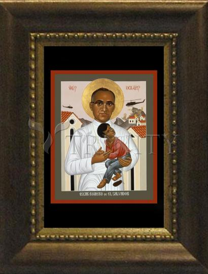 Desk Frame Bronze - St. Oscar Romero of El Salvador by R. Lentz
