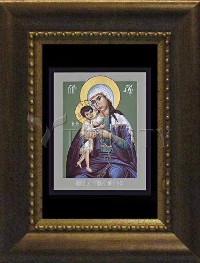Desk Frame Bronze - Mary, Undoer of Knots - Spanish by R. Lentz