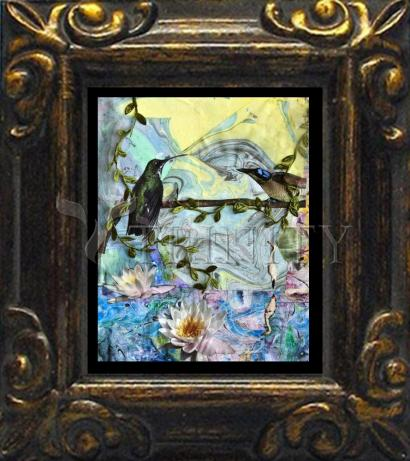 Mini Magnet Frame - Birds Singing Above White Heron by B. Gilroy