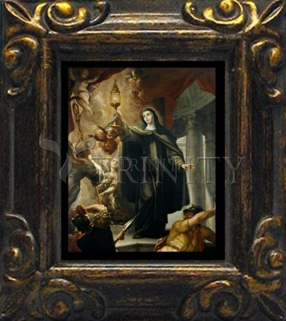 Mini Magnet Frame - St. Clare of Assisi Driving Away Infidels with Eucharist by Museum Art