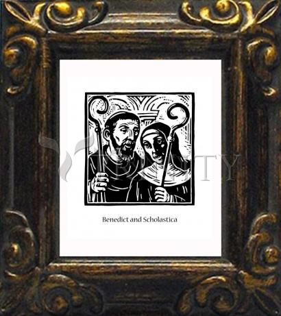 Mini Magnet Frame - Sts. Benedict and Scholastica by J. Lonneman
