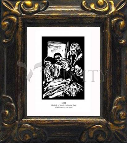 Mini Magnet Frame - Women's Stations of the Cross 13 - The Body of Jesus is Laid in the Tomb by J. Lonneman
