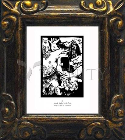Mini Magnet Frame - Women's Stations of the Cross 10 - Jesus is Nailed to the Cross by J. Lonneman