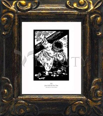 Mini Magnet Frame - Traditional Stations of the Cross 03 - Jesus Falls the First Time by J. Lonneman