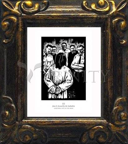 Mini Magnet Frame - Scriptural Stations of the Cross 03 - Jesus is Accused by the Sanhedrin by J. Lonneman