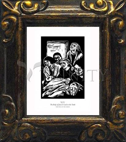 Mini Magnet Frame - Traditional Stations of the Cross 14 - The Body of Jesus is Laid in the Tomb by J. Lonneman