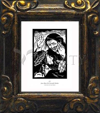 Mini Magnet Frame - Traditional Stations of the Cross 04 - Jesus Meets His Sorrowful Mother by J. Lonneman