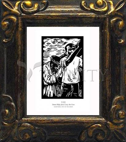 Mini Magnet Frame - Scriptural Stations of the Cross 08 - Simon Helps Jesus Carry the Cross by J. Lonneman