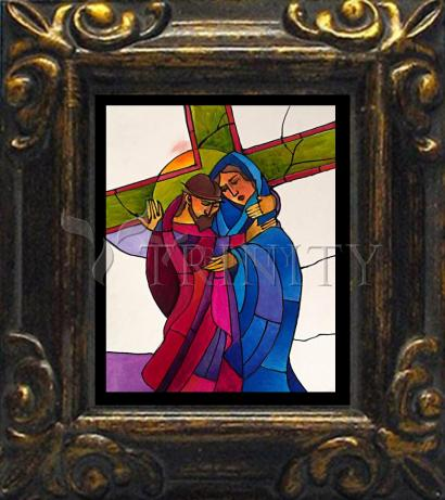 Mini Magnet Frame - Stations of the Cross - 04 Jesus Meets His Sorrowful Mother by M. McGrath