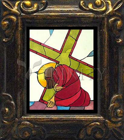 Mini Magnet Frame - Stations of the Cross - 07 Jesus Falls a Second Time by M. McGrath
