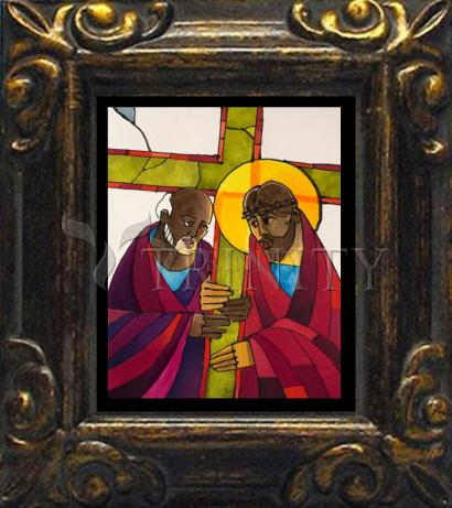 Mini Magnet Frame - Stations of the Cross - 05 Simon Helps Jesus Carry the Cross by M. McGrath