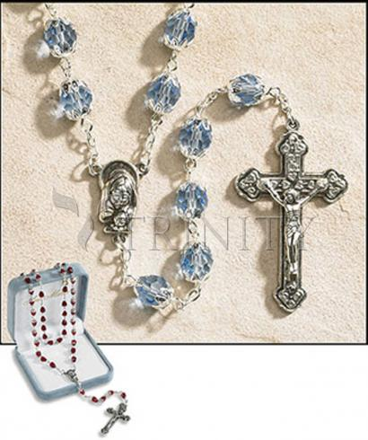 Rosary - 6x8 mm Double Capped Crystal Bead -  December (Blue Zircon)