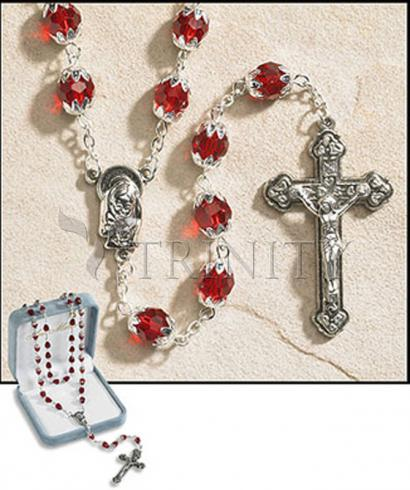 Rosary - 6x8 mm Double Capped Crystal Bead -  January (Garnet)