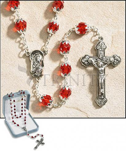 Rosary - 6x8 mm Double Capped Crystal Bead -  July (Ruby)