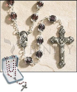 Rosary - 6x8 mm Double Capped Crystal Bead -  June (Light Amethyst)