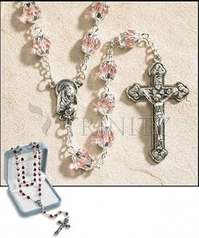 Rosary - 6x8 mm Double Capped Crystal Bead -  October (Rose)