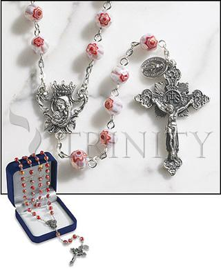 Rosary: 8 mm Pink Glass Bead