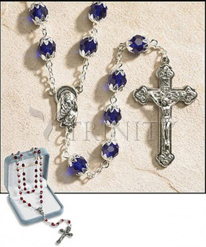 Rosary - 6x8 mm Double Capped Crystal Bead -  September (Sapphire)