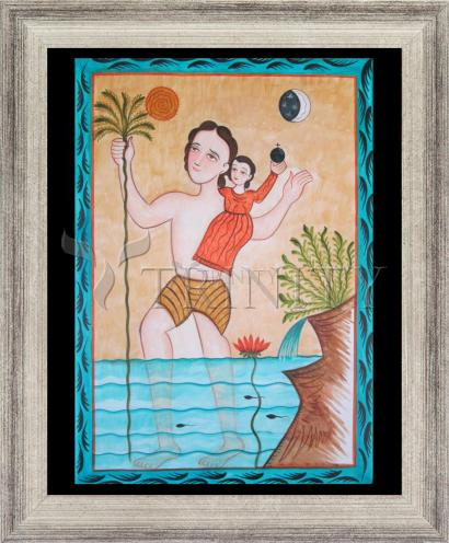 Wall Frame Silver Flat - St. Christopher by A. Olivas