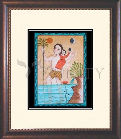Wall Frame Double Mat Gold - St. Christopher by A. Olivas