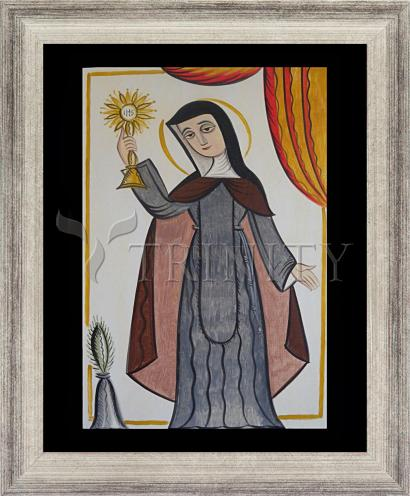 Wall Frame Silver Flat - St. Clare of Assisi by A. Olivas