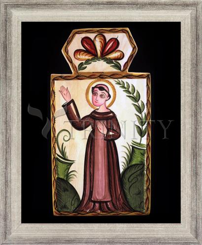 Wall Frame Silver Flat - St. Francis of Assisi by A. Olivas
