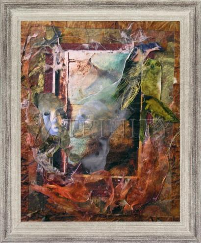 Wall Frame Silver Flat - Faces Amidst Tattered Shroud by B. Gilroy