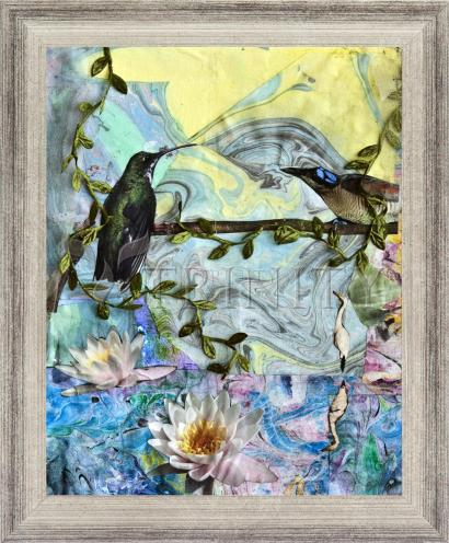 Wall Frame Silver Flat - Birds Singing Above White Heron by B. Gilroy