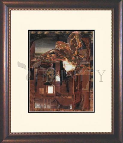 Wall Frame Double Mat Gold - Eagle Hovers Over Ruins by B. Gilroy