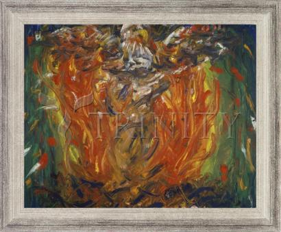Wall Frame Silver Flat - Eagle in Fire That Does Not Burn by B. Gilroy