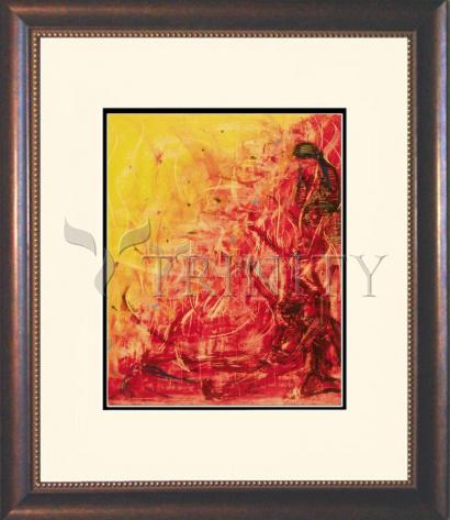 Wall Frame Double Mat Gold - Figures In Flames by B. Gilroy
